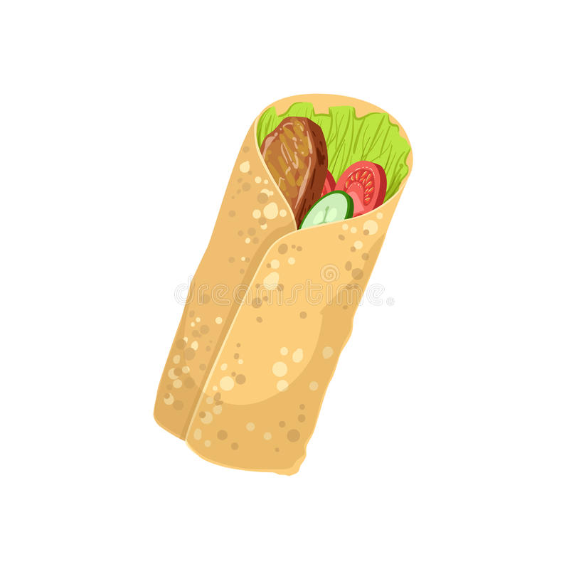 Ilustração detalhada realística do item de menu do alimento da rua do envoltório ilustração royalty free