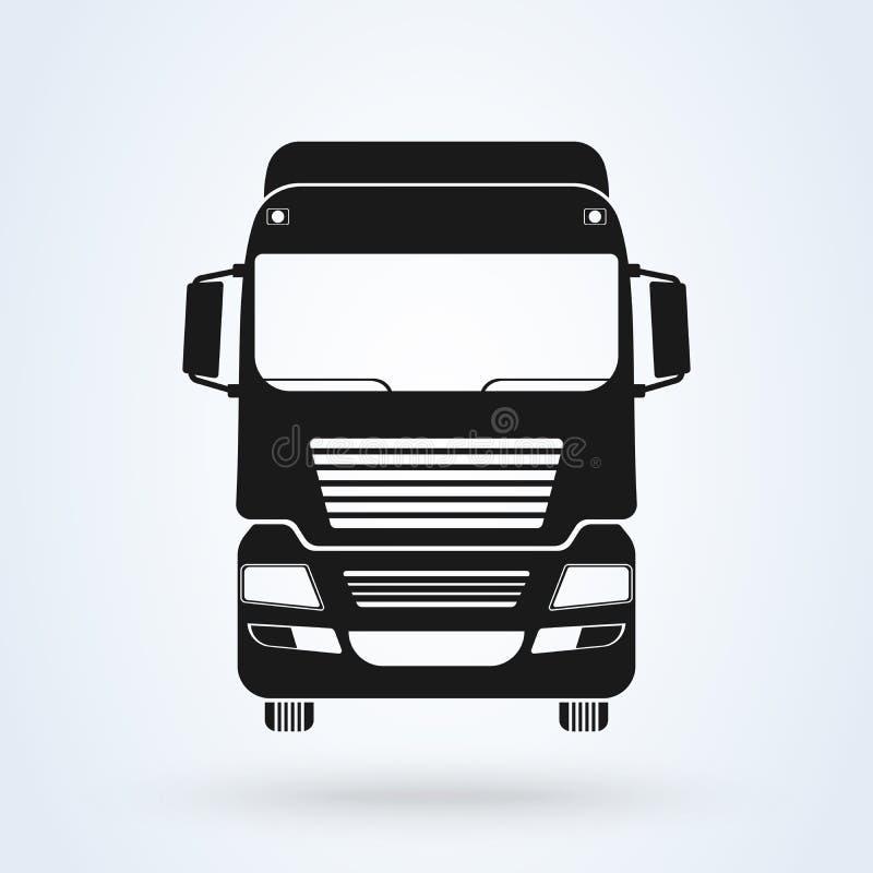 Ilustração dianteira do vetor do ícone do caminhão Isolado no branco Soluções do frete Logotipo de transporte por caminhão ilustração royalty free