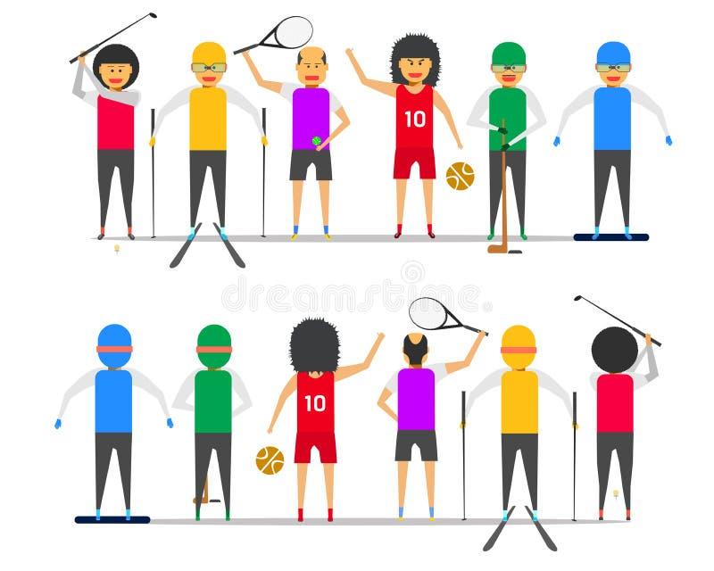 Ilustração dianteira-para trás ep10 do vetor da opinião do hóquei em gelo do snowboard do esqui do basquetebol do tênis do golfe  ilustração do vetor