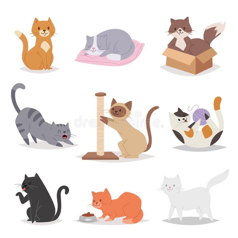 Ilustração diferente das raças dos caráteres engraçados dos gatos dos desenhos animados Animal de estimação dos jovens da vaquinh ilustração royalty free