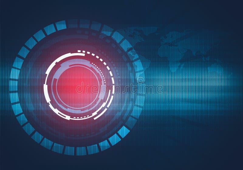Ilustração digital abstrata da relação redonda da tecnologia ilustração stock