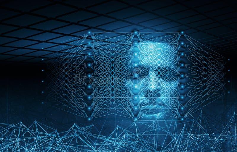Ilustração digital conceptual da inteligência artificial ilustração royalty free