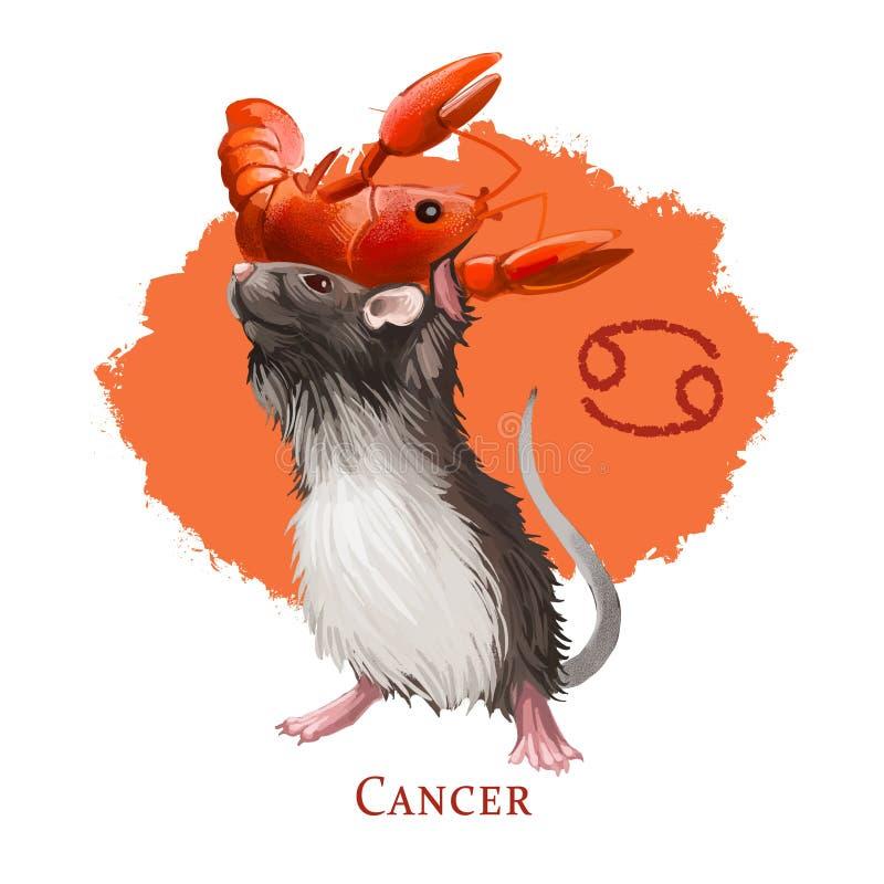 Ilustração digital criativa do câncer do sinal astrológico O symboll do rato ou do rato de 2020 anos assina dentro o zodíaco Água ilustração royalty free
