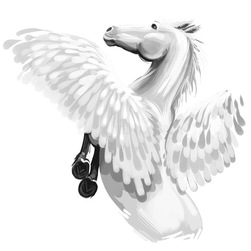 Ilustração digital da arte de Pegasus isolada no fundo branco Crature mitológico antigo legendário, conto de fadas ilustração royalty free