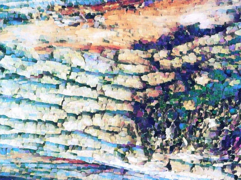 Ilustração digital da textura natural da casca de árvore Casca de árvore azul desvanecida De superfície resistido da árvore velha ilustração do vetor