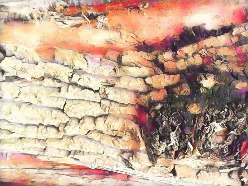Ilustração digital da textura natural da casca de árvore Casca de árvore cor-de-rosa obscura De superfície resistido da árvore ve ilustração royalty free