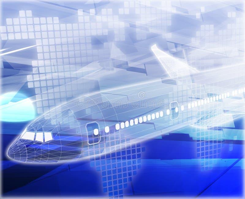 Ilustração digital do conceito do sumário do avião da viagem aérea ilustração royalty free