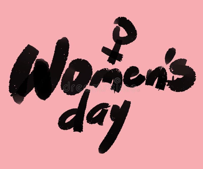 Ilustração digital do texto do dia das mulheres no rosa ilustração royalty free