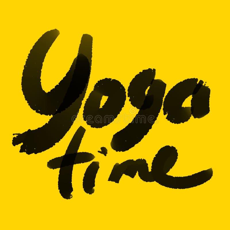 Ilustração digital do texto do tempo da ioga no amarelo ilustração do vetor