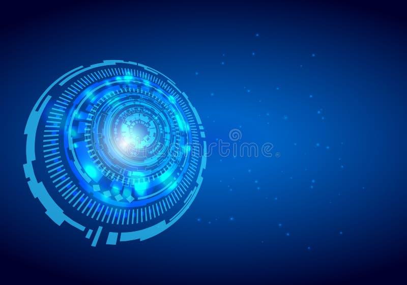 Ilustração digital futurista do vetor do fundo da inovação do conceito abstrato de uma comunicação da Olá!-tecnologia do fundo da ilustração do vetor