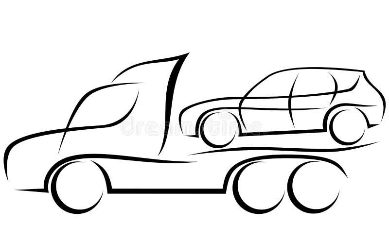 Ilustração dinâmica de um caminhão de reboque com um carro ilustração royalty free
