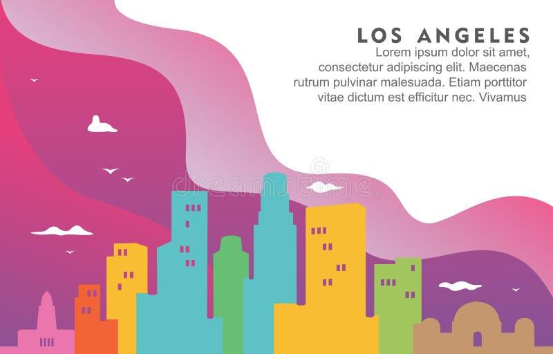 Ilustração dinâmica do fundo da skyline da arquitetura da cidade da construção da cidade de Los Angeles Califórnia ilustração royalty free