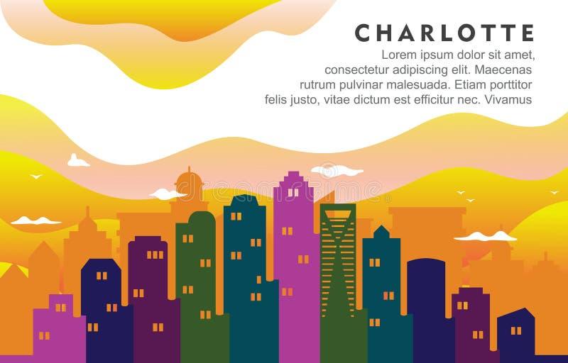 Ilustração dinâmica do fundo da skyline da arquitetura da cidade de Charlotte North California City Building ilustração royalty free