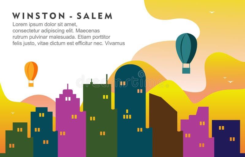 Ilustração dinâmica do fundo da skyline da arquitetura da cidade de Winston Salem North California City Building ilustração do vetor