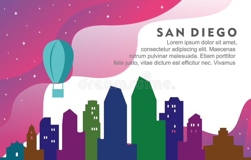 Ilustração dinâmica do fundo da skyline de San Diego California City Building Cityscape ilustração royalty free