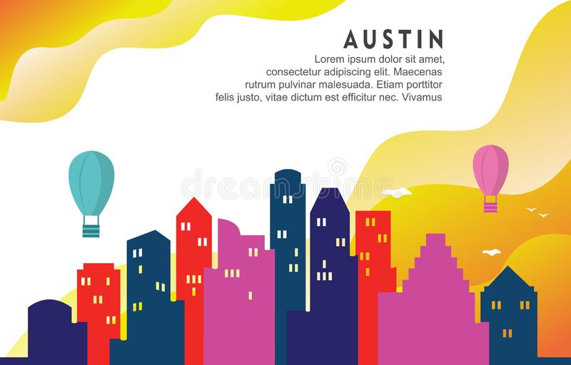 Ilustração dinâmica do fundo de Austin Texas City Building Cityscape Skyline ilustração stock