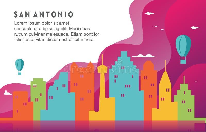 Ilustração dinâmica do fundo de San Antonio Texas City Building Cityscape Skyline ilustração do vetor