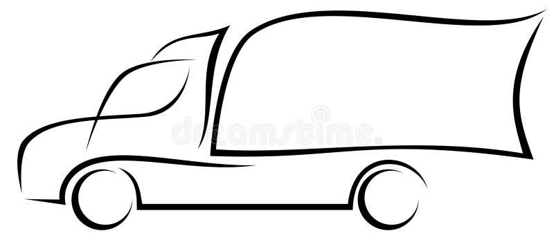 Ilustração dinâmica do vetor de um caminhão americano da capota com dois eixos como um logotipo para uma empresa de entrega ilustração do vetor