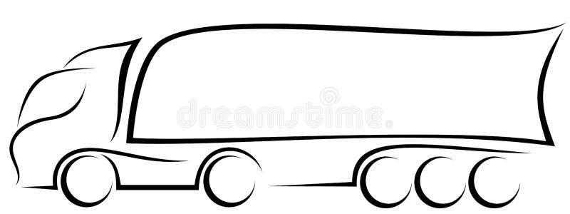 Ilustração dinâmica do vetor de um caminhão europeu com reboque dos três-eixos como um logotipo ilustração do vetor