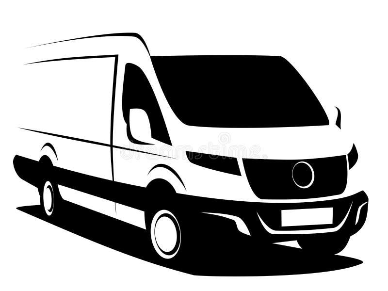 Ilustração dinâmica do vetor de uma camionete de entrega comercial usada transportando a carga ilustração stock