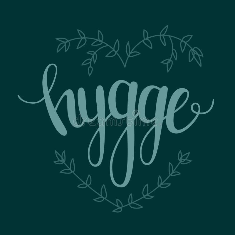Ilustração dinamarquesa do vetor da felicidade de Hygge Hugge foto de stock royalty free