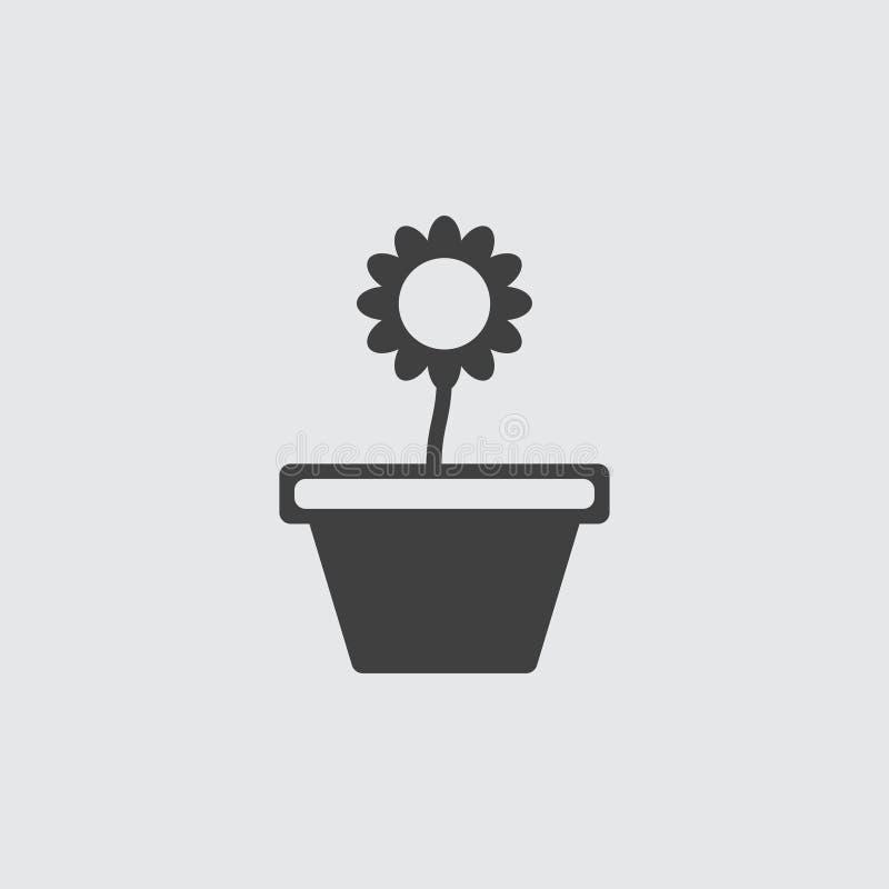 Ilustração do ícone do vaso de flores foto de stock