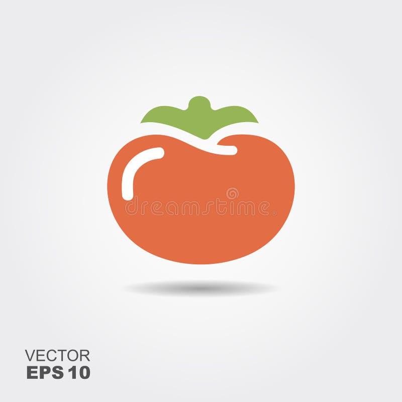 Ilustração do ícone liso do tomate com sombra ilustração stock