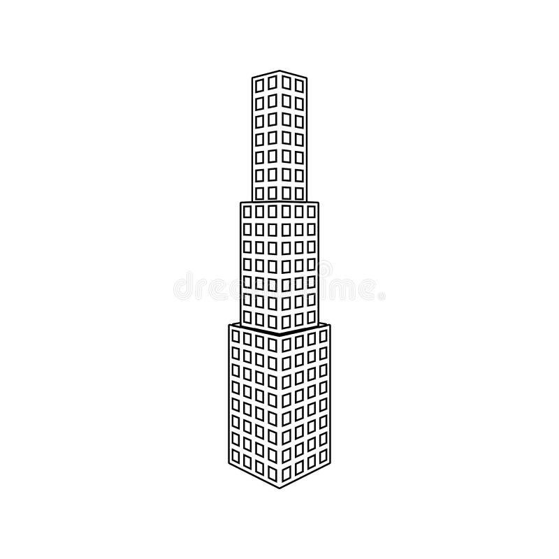 ilustração do ícone do prédio de escritórios 3d Elemento da construção 3d para o conceito e o ícone móveis dos apps da Web Linha  ilustração stock