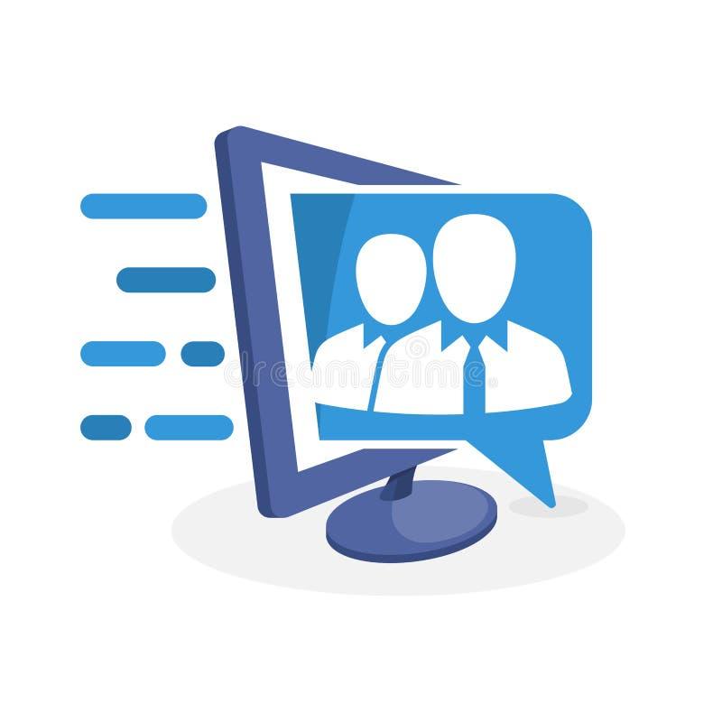 Ilustração do ícone do vetor com conceito digital dos meios sobre o apoio da informação da equipe de perito ilustração do vetor