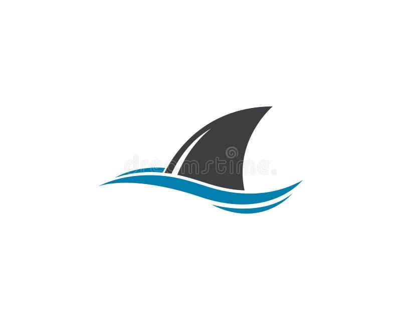 Ilustração do ícone do vetor do molde do logotipo da aleta do tubarão ilustração royalty free