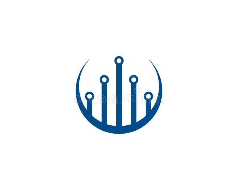 ilustração do ícone do vetor do molde do logotipo da tecnologia de circuito ilustração stock