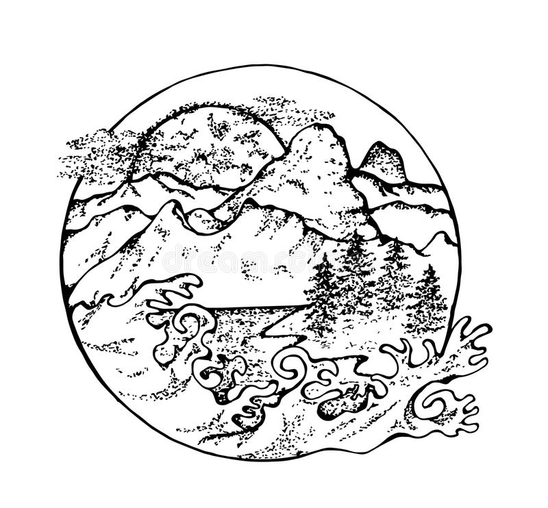 A ilustração do abeto, da lua, das nuvens e do japonês acena fotos de stock