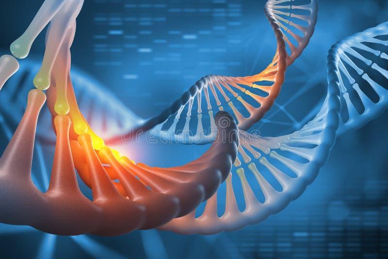 Ilustração do ADN 3d Sequência do genoma da descodificação Estudos científicos da estrutura da molécula do ADN ilustração stock