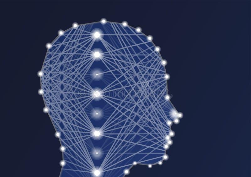 Ilustração do AI da inteligência artificial com rede neural e a silhueta profundas da pessoa ilustração royalty free