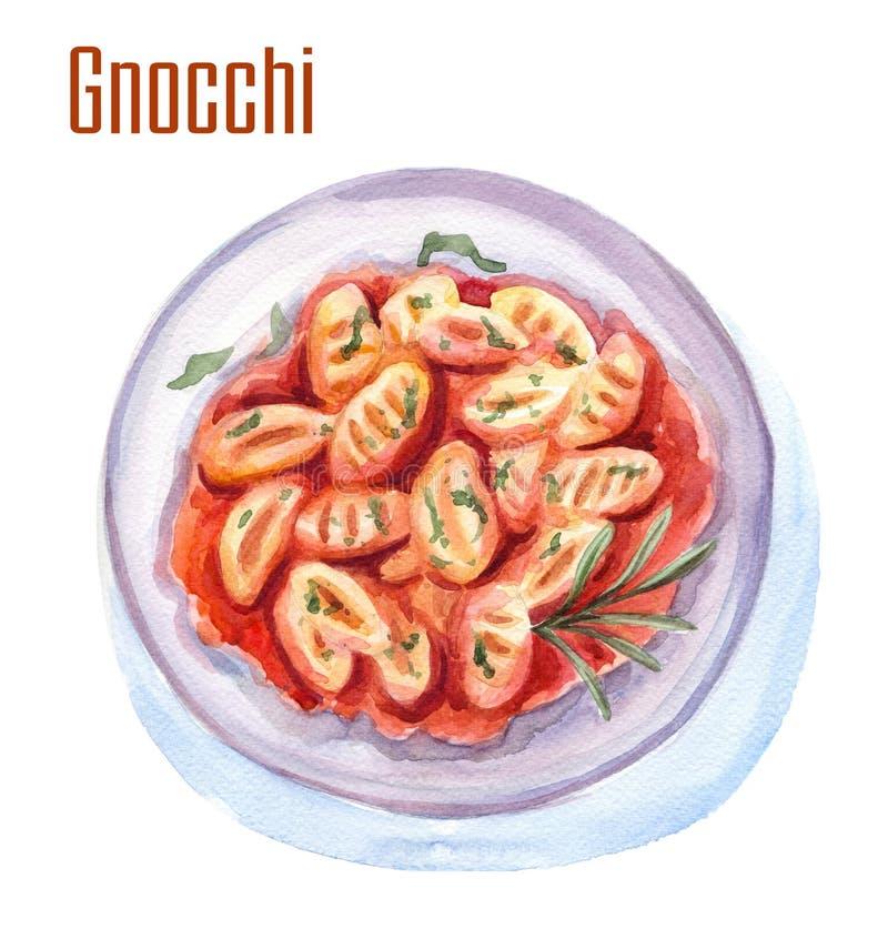 Ilustração do alimento da aquarela do Gnocchi ilustração stock