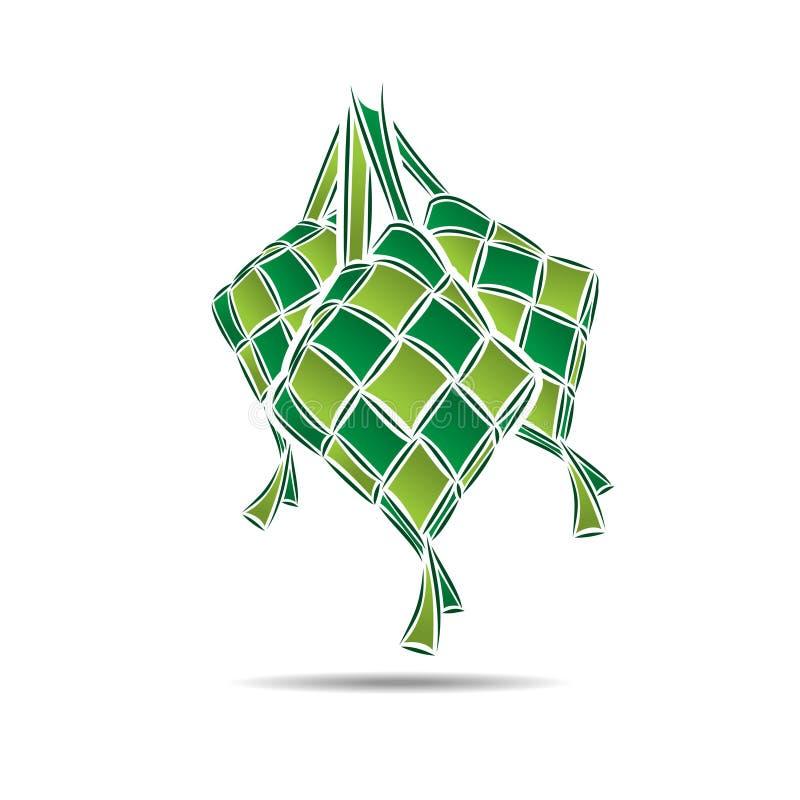 Ilustração do alimento da bolinha de massa do arroz de Ketupat ilustração stock