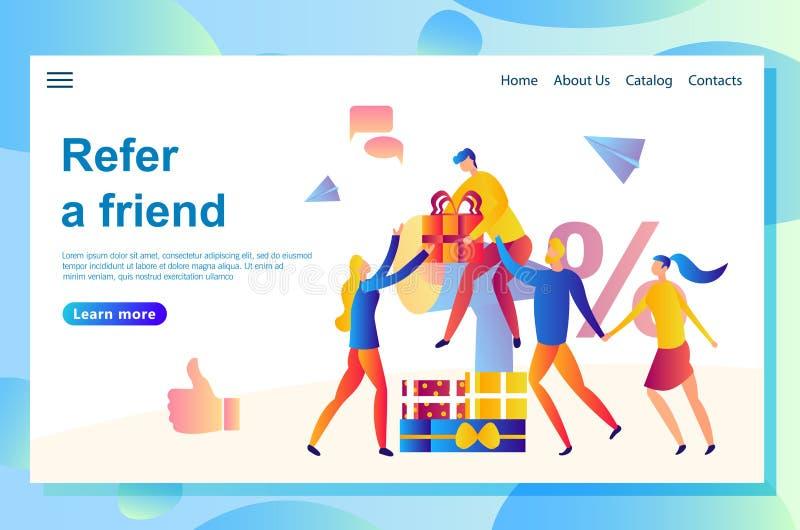 Ilustração do amigo do página da web que compartilha do código da referência Povos que compartilham de presentes com os amigos e  ilustração do vetor