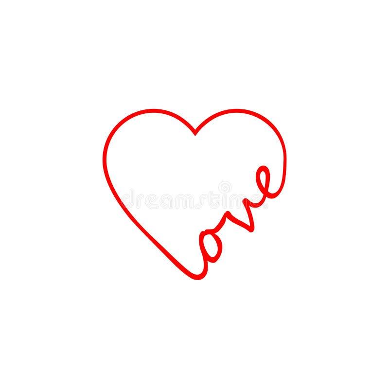 Ilustração do amor, do ícone ou do logotipo da palavra ilustração royalty free