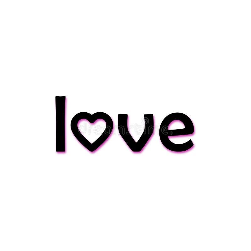 Ilustração do amor, do ícone ou do logotipo da palavra ilustração stock