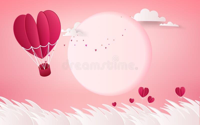 Ilustração do amor e do dia de são valentim, balão de ar quente que voa o ov ilustração stock