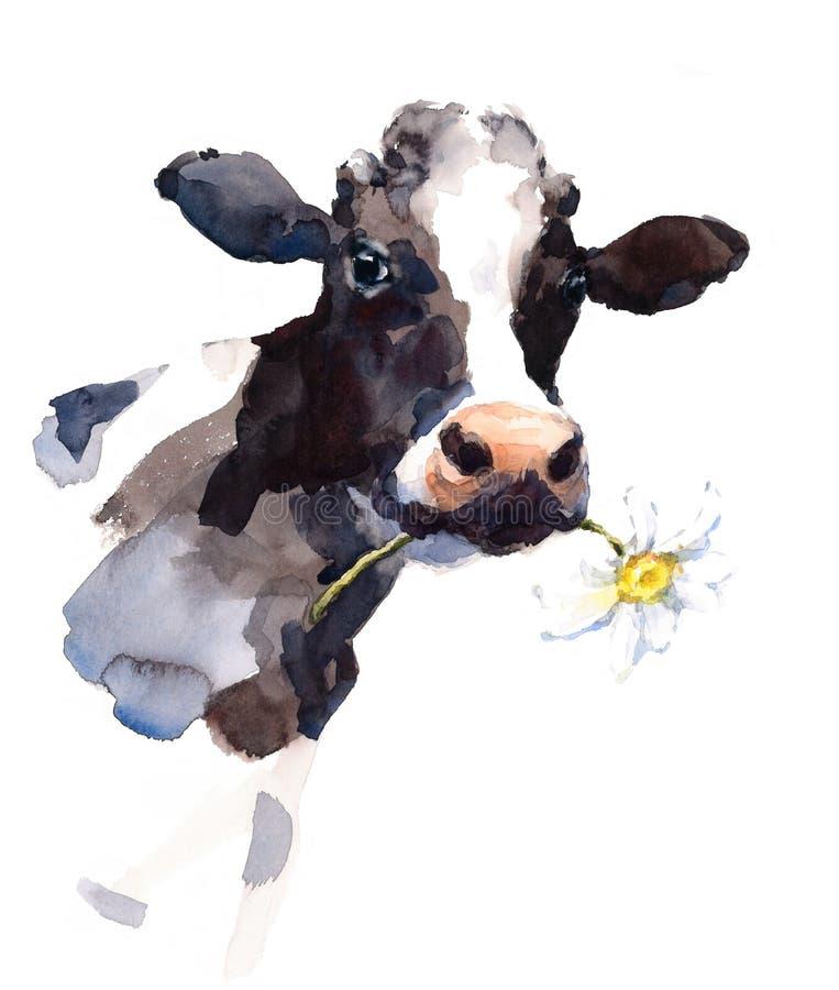 Ilustração do animal de exploração agrícola da aquarela da vaca pintado à mão ilustração royalty free
