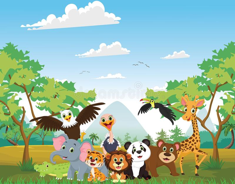 Ilustração do animal feliz na selva ilustração stock