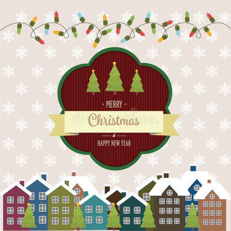 Ilustração do ano novo e do cartão de Natal no estilo do vintage ilustração do vetor