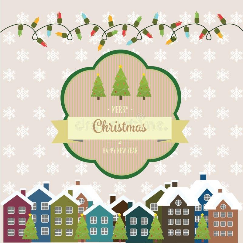 Ilustração do ano novo e do cartão de Natal no estilo do vintage ilustração royalty free
