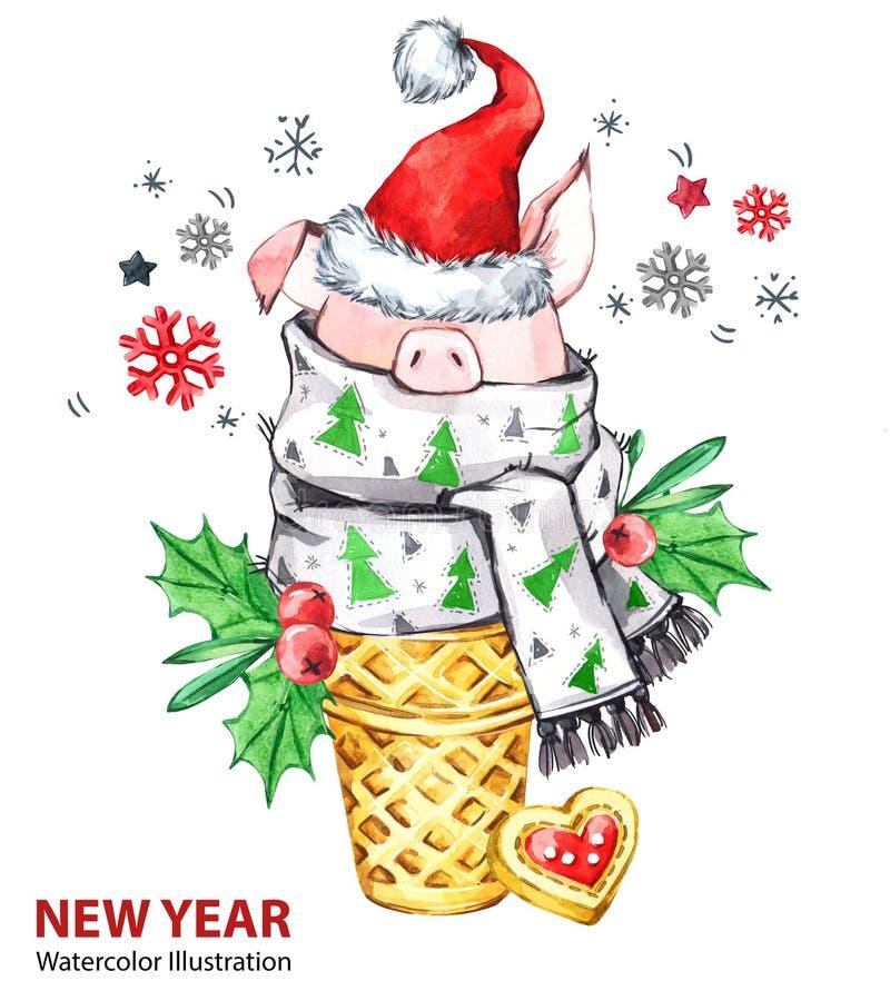 Ilustração do ano 2019 novo feliz Natal Porco bonito com o chapéu de Santa no cone do waffle Sobremesa da aquarela do cumprimento imagem de stock