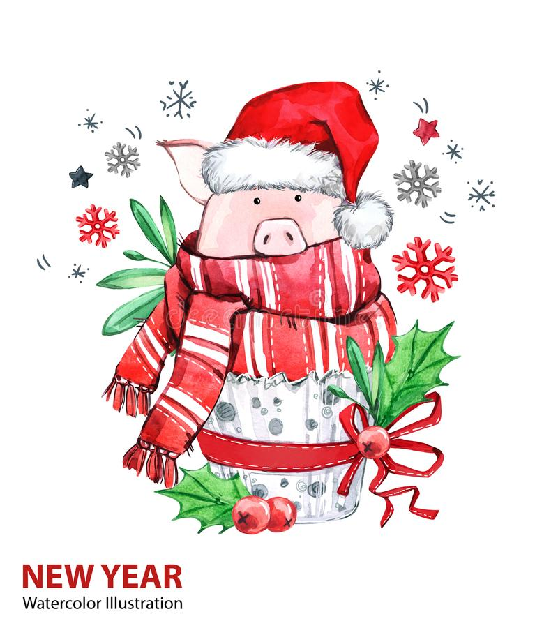 Ilustração do ano 2019 novo feliz Natal Porco bonito no lenço do inverno com chapéu de Santa Bolo da aquarela do cumprimento Símb ilustração do vetor