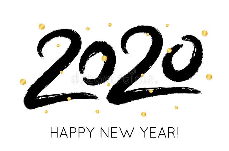 Ilustração do ano novo feliz do vetor 2020 com confetes do brilho do ouro Cartão criativo, cartaz ilustração royalty free