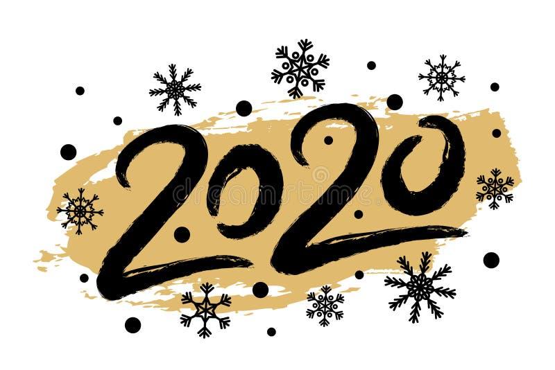 Ilustração do ano novo feliz do vetor 2020 com flocos de neve Cartão criativo, cartaz ilustração do vetor