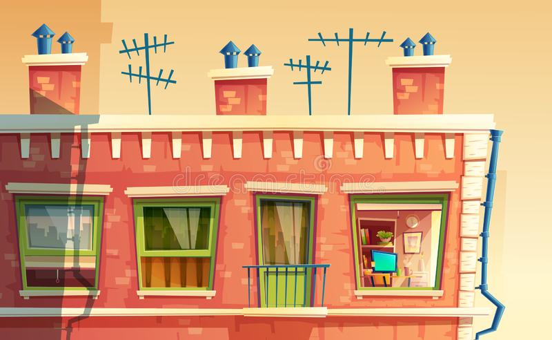 ilustração do apartamento do multi-andar, casa fora do conceito, telhado da construção Fundo do promo da arquitetura ilustração royalty free