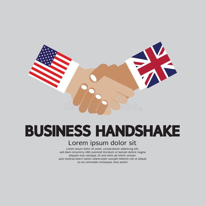 Ilustração do aperto de mão do negócio, EUA e Reino Unido ilustração do vetor